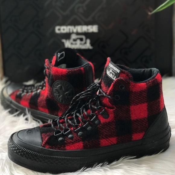 57cf3eba8cc3 Converse woolrich ctas street hiker hi black shoes NWT